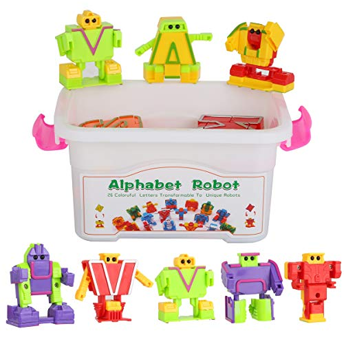 26 Colorful Alphabet Robots ABC Learning toys Transforming Toys Robot Letters for Kids (Make A Word From These Letters Scrabble)