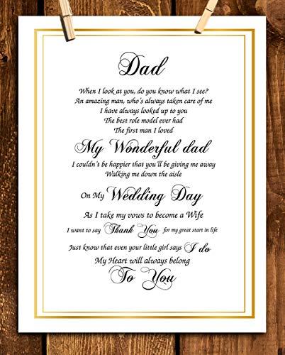 To My Dad on Wedding Day-8 x 10 Wall Art Ready to Frame. Heartfelt Wedding Gift Saying Thank You &