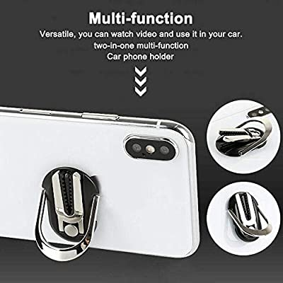 OneCut 2 Pcs Phone Ring Holder Two-in-one Multipurpose Mobile Phone Bracket Holder Stand 360 Degree Rotation & 90°Flip for Car, Multiple-Angle Car Phone Mount (Black & Silver)