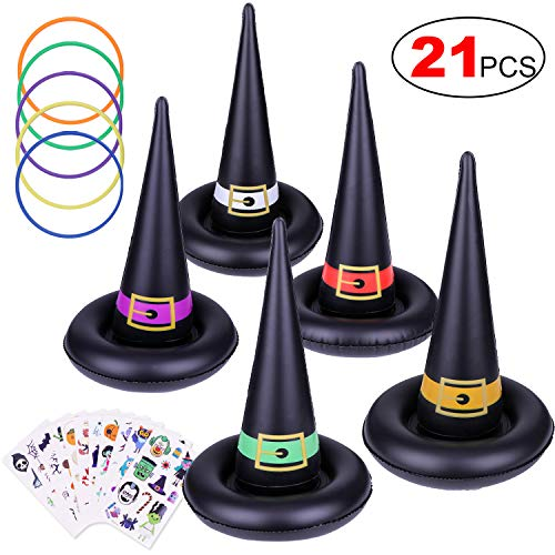 Konsait Halloween Party Games Witch Hat Ring Toss Temporary Tattoos for Kids Children, Halloween Indoor Outdoor Games Inflatable Garden Toys Kids Halloween Party Favor Supplies Gift from Konsait