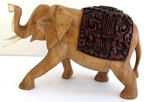 [Large Elephant Statue Lucky Elephant Wood Carved Statue Trunk Up - OMA BRAND] (Wood Carved Trunk)