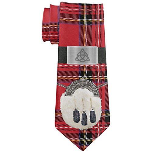 St Patricks Day Royal Stewart Scottish Red Plaid All Over Neck Tie Multi Standard One Size (Tie Tartan Stewart)