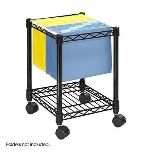 Scranton & Co Compact Metal Mobile File Cart in Black by Scranton & Co