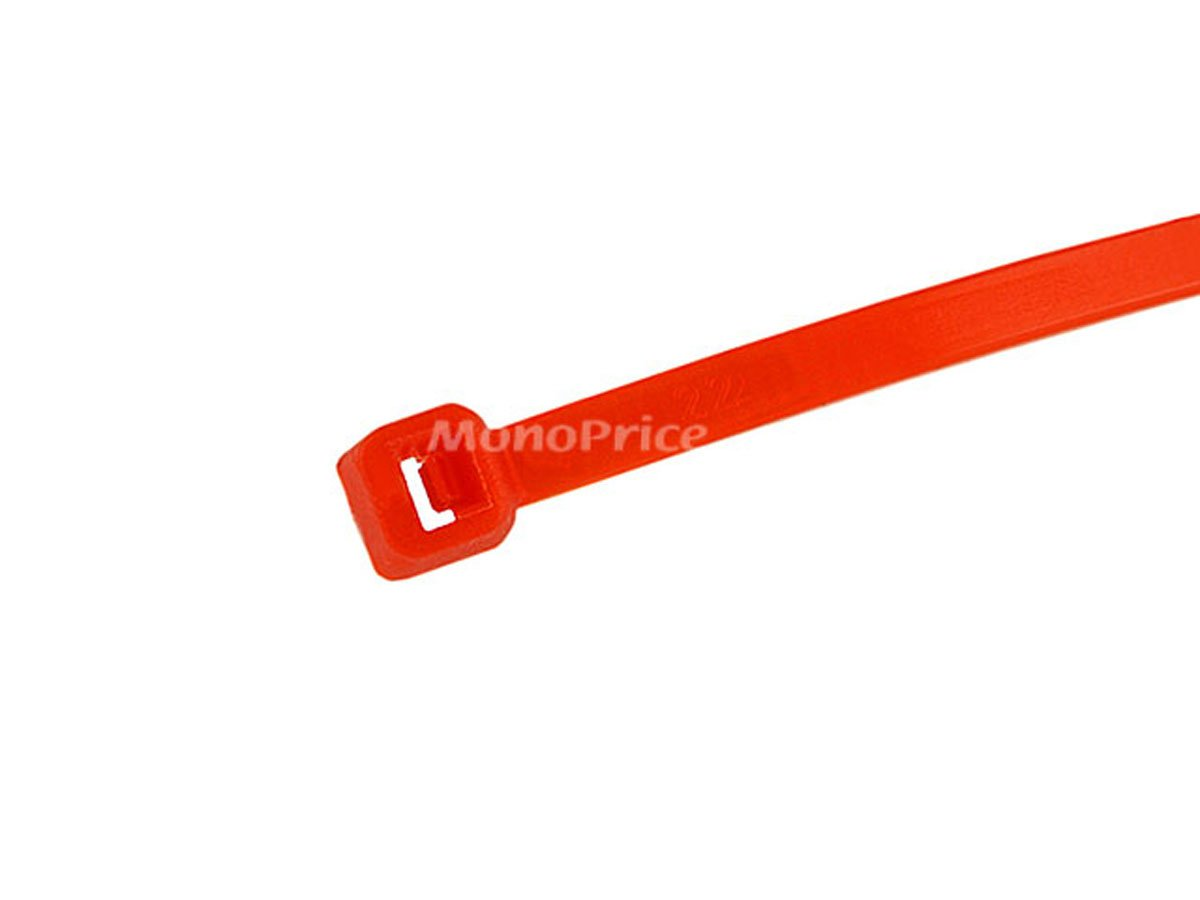 Monoprice Cable Tie 4 inch 18LBS, 100pcs/Pack - Red by Monoprice (Image #2)