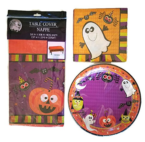 Halloween Pumpkin, Witch, Ghost and Bat Party Supplies Paper Plate and Napkin Bundle Set of 3 Includes Plates, Napkin and Tablecloth - Service for 18 (Calabazas De Halloween Papel)