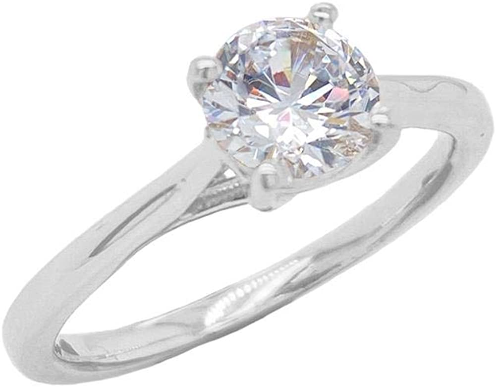 Small Elegant Sterling Silver Solitaire CZ Engagement Ring