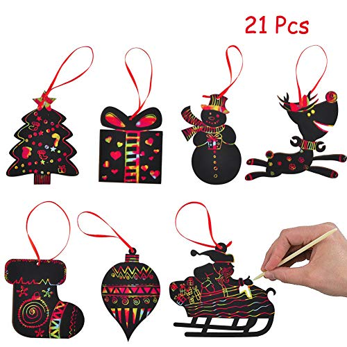 WESJOY Christmas Scratch Ornaments, Magic Rainbow Color Craft Kit Toy with Snowman, Reindeer, Gift Box, Socks, Christmas Tree for Kids Xmas Crafts Art Decorations, 21 Pack]()
