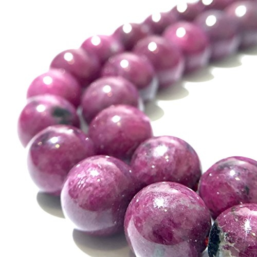 [AfricaGemsUSA] Madagascar Ruby (100% Natural Color) 10mm Smooth Round Beads. Approx. 14-15 inches