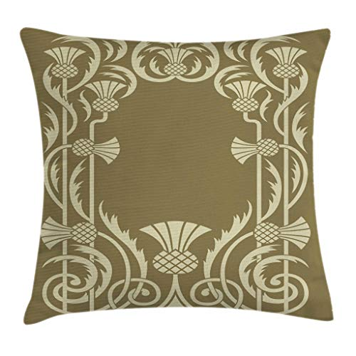 Ambesonne Art Nouveau Throw Pillow Cushion Cover, Floral Border with Tropical Pineapple Fruits Leaves Retro Style Swirls, Decorative Square Accent Pillow Case, 20 X 20 inches, Sepia Sage Green