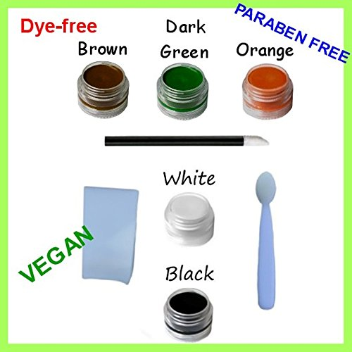 8pc Natural & Organic Face Paint Set (Tiger ARMY Witch) Halloween DYE-free VEGAN Costume Makeup Kit (Halloween Face Paint Designs Witches)