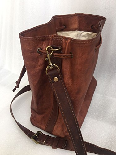 Genuine For Vintage bucket Tote Bag Drawstring bag leather Women Brown Bucket SrUxTRSw