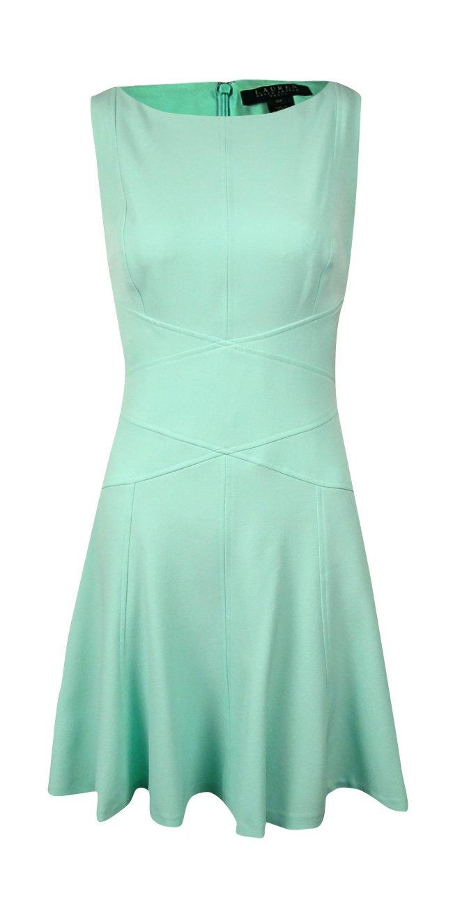 RALPH LAUREN Lauren Women's Boat-Neck Sleeveless Flared Dress (10P, Aquamarine)