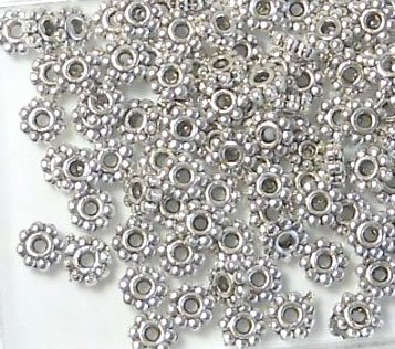 500 Antiqued Silver Plated Pewter Beads 5x2mm Rondelle Daisy with 1.5mm Hole Metal (Pewter Daisy Spacer Beads)