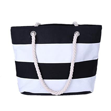 07cc9a6706e Amazon.com | (Price/Pack) Opromo Ladies Striped Canvas Shoulder ...