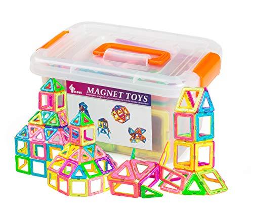 GLOUE Magnetic Building Blocks-64 PCS Kids Magnet Toys Construction Building Tiles for Creativity Educational-Come with a Container Box (64pcs)