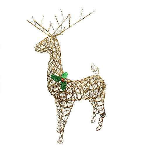 Northlight Seasonal Standing Grapevine Reindeer Lighted Christmas Yard Art Decoration with Clear Lights, 57