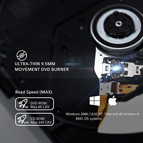 External CD Drive, Wahom USB 3.0 Slim Portable External DVD Drive, High Speed Data Transfer External CD DVD Drive CD/DVD-RW Drive/Writer/Burner/Rewriter/Player for Laptop Macbook Pro Win 8 (Black) by Wahom (Image #3)