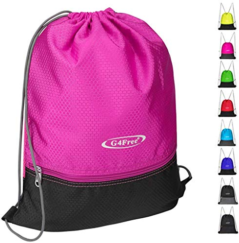 G4Free Drawstring Backpack Sports Gym Bag Pull String Bag Athletic Cinch Bag Men Women Sackpack Gymsack(Pink-Black)