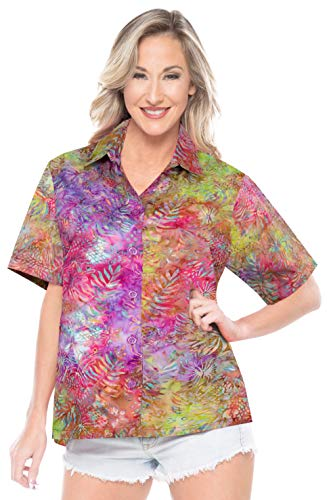LA LEELA Aloha Party Hawaii Blouse Tops Women Shirt Pink_AA146 XL - US 40-42E
