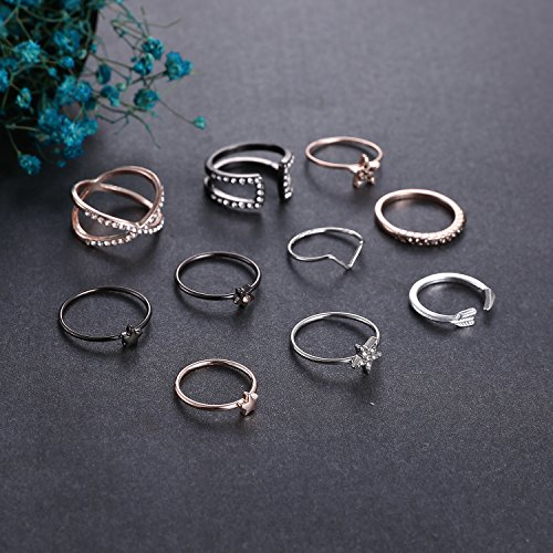 RINHOO FRIENDSHIP 10PCS Bohemian Retro Vintage Crystal Joint Knuckle Ring Sets Finger Rings