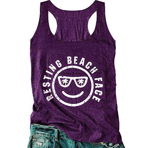 (Women's Graphic Tees Sleeveless Funny Workout Letters Print Tank Top T-Shirt (XL, Purple))