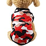 YOMXL Dog Clothes Pet Puppy Summer Camouflage Printed Cotton Vest Apparel For Pet For Small Dog Girls&Boys Woodland Garden Play (S, Red)