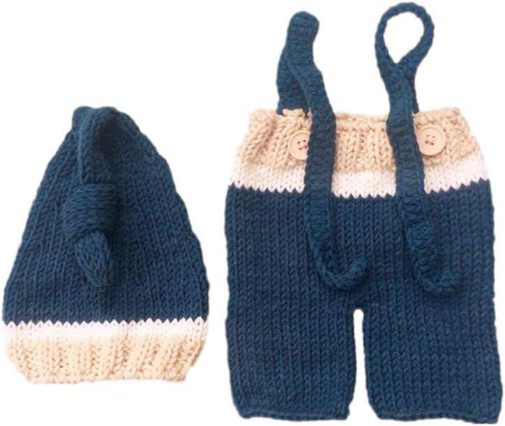 Amosfun Baby crochet photo prop knitted hat pants set recién nacido fotografía prop atuendos ropa disfraz para bebé (0-3 meses)