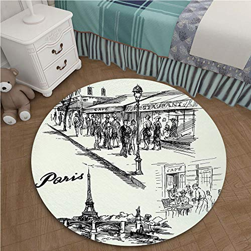Color Printed Carpet Anti-Slip Floor Rug Soft Baby For Living Room Bedroom 2.95 Ft Diameter Eiffel Tower Decor,Paris Sketch Style Cafe Restaurant Landmark Canal Boat Streetlamp Retro Art Print,Black W