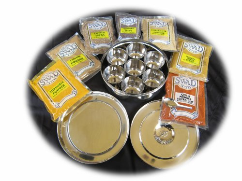 Stainless Steel Masala Dabba with (7) Authentic Indian Spices (Traditional Indian Spice Box) by Generic