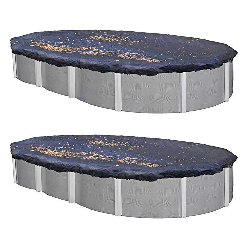 Swimline 18 x 38 Ft. Oval Above Ground Winter Swimming Pool Cover, Blue (2 - Above Oval 38' Ground