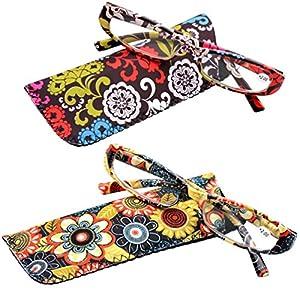 SOOLALA 2-Pair Designer Fashionable Spring Hinge Rectangular Reading Glasses w/ Matching Pouch, RedYellow, +3.0