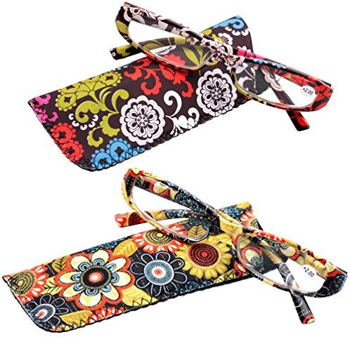 SOOLALA 2-Pair Designer Fashionable Spring Hinge Rectangular Reading Glasses w/ Matching Pouch, RedYellow, - To Where Buy Sunglasses Designer