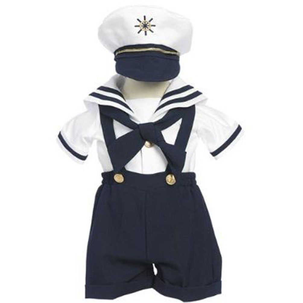 Classykidzshop Navy Sailor Boy Shirt, Shorts, Tie and Hat (Baby)