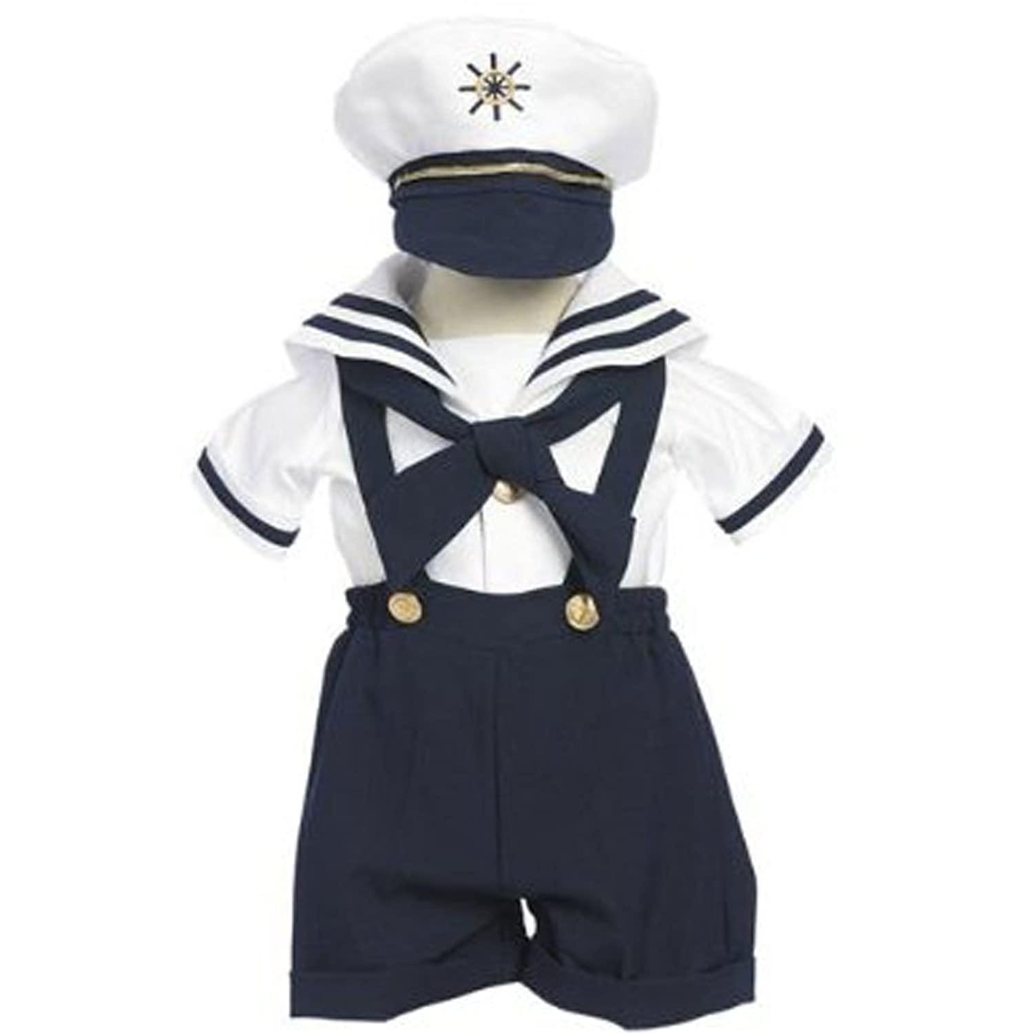 1940s Children's Clothing: Girls, Boys, Baby, Toddler Classykidzshop Navy Sailor Boy Shirt Shorts Tie and Hat (Baby) $30.00 AT vintagedancer.com