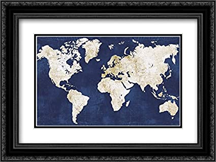 Amazon world map navygold 2x matted 24x18 black ornate framed world map navygold 2x matted 24x18 black ornate framed art print by vidal alicia gumiabroncs Choice Image