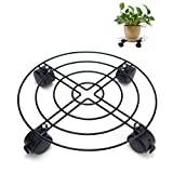 #8: Jesauge Metal Plant Flower Pot Stand Trolley Caddy on Wheels Indoor Outdoor Home Garden tools (black)