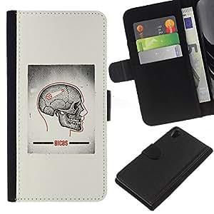 ZCell / Sony Xperia Z2 D6502 / Skull Grey Anatomy Brain Medical / Caso Shell Armor Funda Case Cover Wallet / Cráneo gris anatomía c