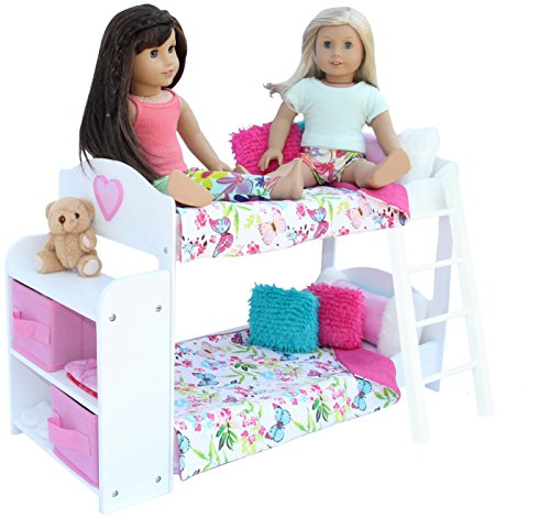 (PZAS Toys Doll Bunk Bed - Doll Bunk Bed for 18 Inch Dolls Complete with Linens, Pajamas, Teddy Bear, and Shelves, Compatible with American Girl Doll Furniture and Accessories)