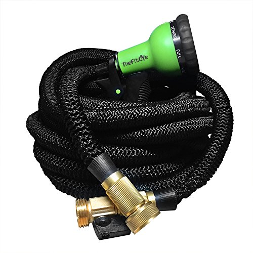 Expandable garden hose 50 100 feet with strongest triple core latex solid brass fittings 8 Expandable garden hose 100 ft