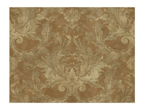 York Wallcoverings GL4632 Brandywine Aida Damask Wallpaper, Bronze/Soft Gray/Sand - Classic Acanthus Leaves Wallpaper