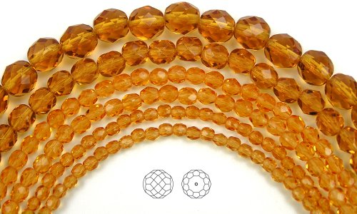 3mm (135) Topaz, Czech Fire Polished Round Faceted Glass Beads, 16 inch (Topaz Round Firepolish Glass Bead)