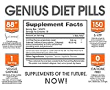 GENIUS DIET PILLS - The Smart Appetite Suppressant for Safe Weight Loss, All Natural 5-HTP & Saffron Supplement Clinically Proven As Cortisol Manager, Mood Support and Stress Reduction, 50 Veggie Caps
