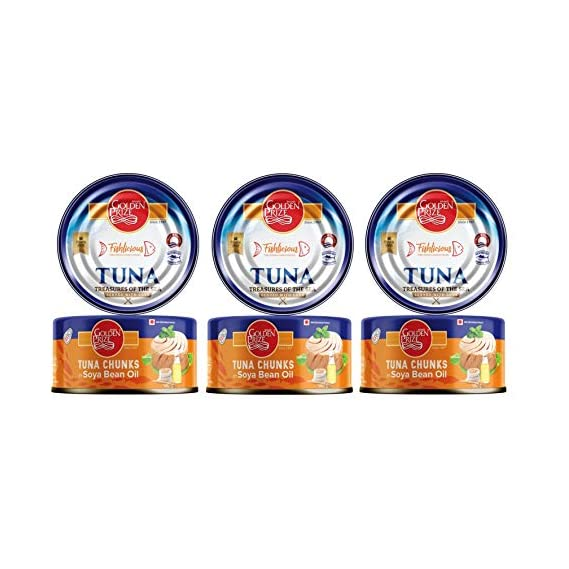 Golden Prize Tuna Chunk in Soyabean Oil 185 GMS Each - Pack of 3 Units