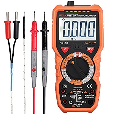 Multimeters Neoteck TRMS 6000 Counts Auto Ranging AC/DC Digital Multimeter with NCV Function Voltage Current Resistance Temperature Capacitance Testers for School Laboratory Factory and Social Fields