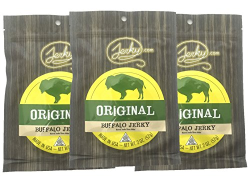 Jerky.com's Original Buffalo Jerky - 3 PACK - The Best Wild Game Bison Jerky on the Market - 100% Whole Muscle Buffalo - No Added Preservatives, No Added Nitrates and No Added MSG - 6 total oz. ()