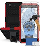 iTALKonline Sony Xperia Z3 Compact Red Black Tough Hard Shock Proof Rugged Heavy Duty Case Cover with Viewing Stand and Tempered Glass Protective LCD Screen Protector with MicroFibre Polishing Cleaning Cloth and Application Card