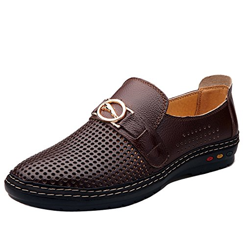 Summer Hollow Shoe Formal Casual Loafers Sandals Business Dress Mens Brown Out Leather 0dZwxB