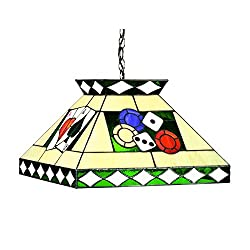 RAM Gameroom Products Stained Glass Tiffany Style Poker Pendant Light