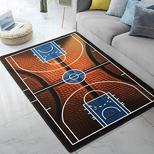 (Area Rugs Basketball Court Sport Print Large Floor Mat for Living Dining Dorm Playing Room Bedroom 5' x 7')