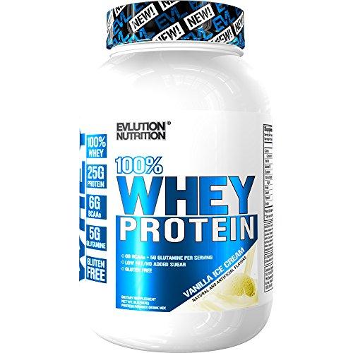 Evlution Nutrition 100 Whey Protein, 25g of Whey Protein, 6g of BCAAs, 5g of Glutamine, Gluten Free 2 LB, Vanilla Ice Cream
